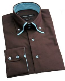 Chemise double col choco