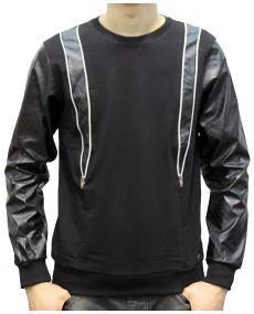 T-shirt homme matelassé simili cuir noir