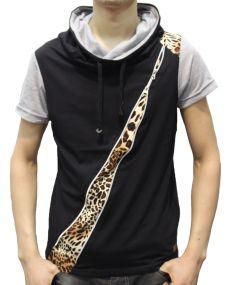 T-shirt homme zippé léopard noir