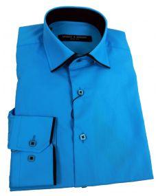 chemise col italien liseret bleu noir
