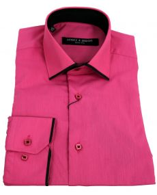 chemise col italien liseret fushia noir