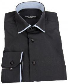 chemise col italien liseret noir gris