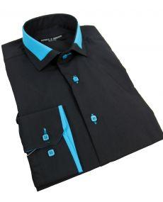 Chemise col italien bicolore noir bleu