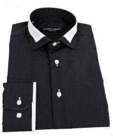 chemise col italien bicolore noir blanc