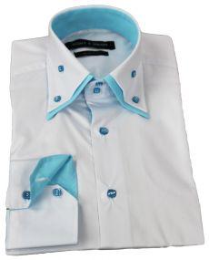 Chemise double col laque blanc truquoise