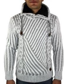 Pull homme fashion blanc gris