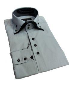 chemise double col gris noir