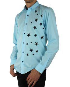 Chemise turquoise imprimée étoile