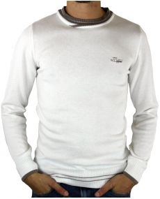 Pull fin homme blanc