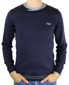 Pull fin homme marine
