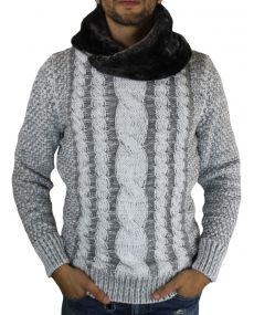 Pull en laine col fourré gris