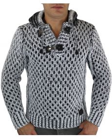 Pull laine homme à capuche blanc