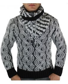 Pull fashion col montant noir