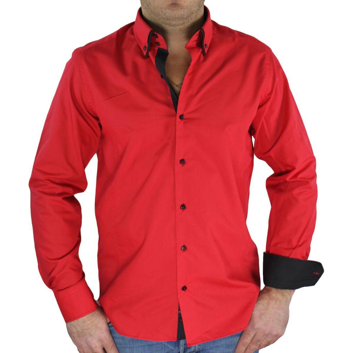 chemise rouge noir. Black Bedroom Furniture Sets. Home Design Ideas