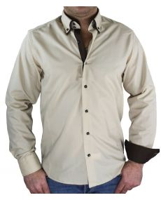 Chemise Double col beige choco