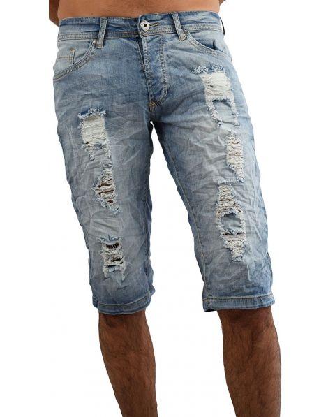 Bermuda jeans homme froissé déchiré MBK58