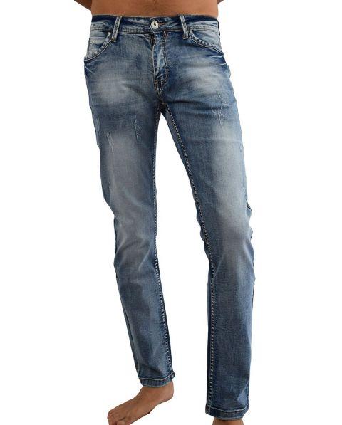 Jean homme bleu délavé elasthane