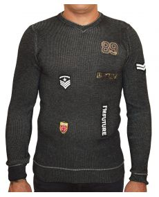 pull homme patch noir