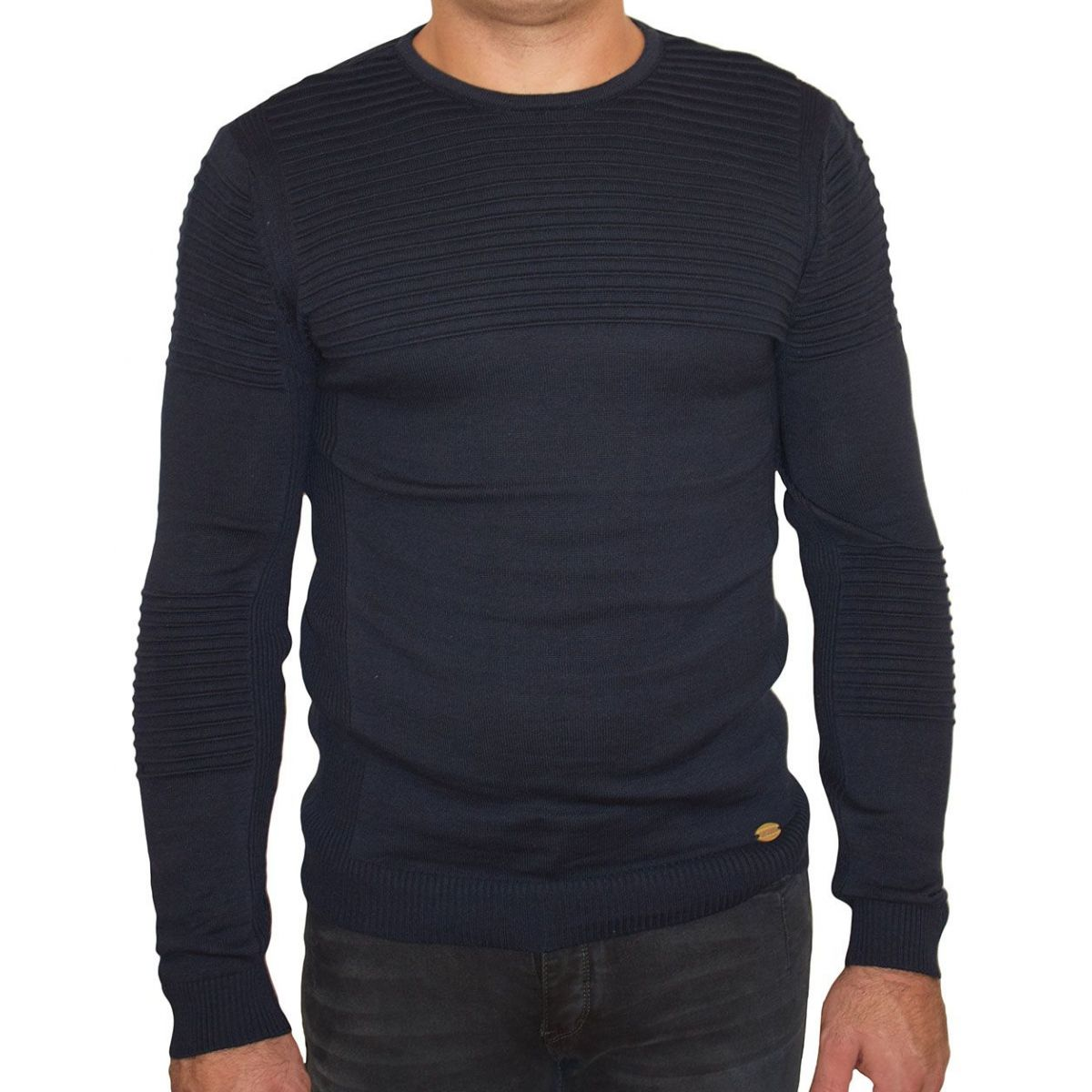 pull homme noir maille