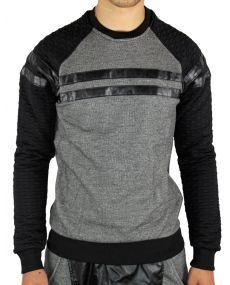T-shirt ML bi matière noir