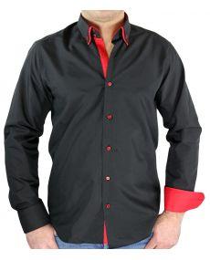 Chemise homme bicolore noir rouge
