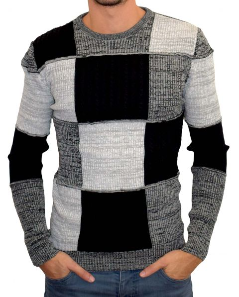 pull homme fin patchwork noir