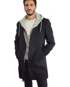 Manteau homme marine capuche amovible