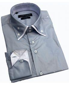 Chemise double col laque gris blanc