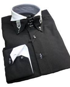 Chemise double col noir blanc Scott et Dixon
