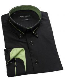 Chemise col italien noir vert