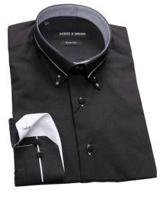 Chemise col italien noir blanc